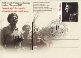 M POLAND - Postcard - 2007.05.12. Cp 1428 Year Of General Wladyslaw Anders, London - Warsaw 2007 - FDI - Interi Postali