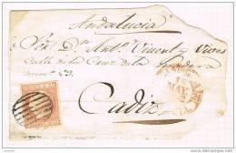 16952. Frontal CARTAGENA (murcia)  1852, Baeza + Parrilla Sobre 6 Cuartos - Briefe U. Dokumente