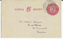 IRLANDE - 1930 - CARTE POSTALE ENTIER De DUBLIN Pour LONDON - RARE Ref. MICHEL N° P2b - Postal Stationery