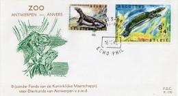 1965 - Belgique - FDC - Zoo D'Anvers - Reptiles: Varan De Komodo (n°1347) + Trionyx Du Nil (n°1348) - FDC