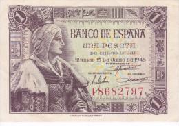 BILLETE DE ESPAÑA DE 1 PTA DEL 15/06/1945 ISABEL LA CATÓLICA SERIE I CALIDAD EBC+ (XF) (BANK NOTE) - [ 3] 1936-1975 : Régimen De Franco