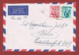 Luftpostbrief  Wien - Köln 20/6/1958 Mit Zusatzstempel Kontrolle Des Lp Tarifes - 1945-60 Briefe U. Dokumente