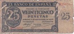 BILLETE DE ESPAÑA DE 25 PTAS DEL 21/11/1936 SERIE Q CALIDAD  RC (BANKNOTE) - [ 3] 1936-1975 : Regency Of Franco