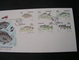 == Zimbabwe 1989  Fische FDC  406-411 - Zimbabwe (1980-...)