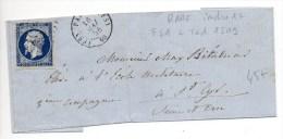 1856 - LETTRE De PARIS FS1 + TàD 1509 (INDICE 17) Sur N° 14 - 1849-1876: Classic Period