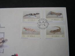 == Zimbabawe , 1989 Tiere Geckos 386-389  FDC - Zimbabwe (1980-...)
