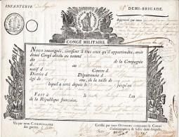 30 Pluviôse An 6 - INFANTERIE DE LIGNE - 38° Demi-brigade - CONGÉ MILITAIRE - Signé Par Le Général SCHAUENBURG - Documentos Históricos