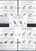 Argentine Série Complète 5 Feuillets Oiseaux Surchargés CM 78 ** - Copa Mundial