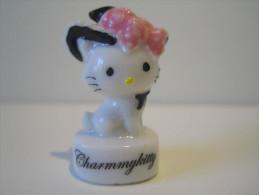 Fève Brillante - Charmmykitty - Hello Kitty - Chaton Chapeau Rose Et Noir   - Sanrio - Animaux