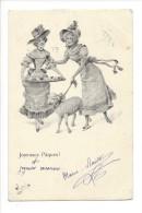 14007 - Joyeuses Pâques Elégantes Femmes Et Mouton WicheraBKWI 4004-7 - Pâques