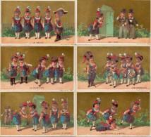 Chromo Sans Pub - Femmes Militaire, Fond Doré X 6 - Autres