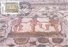 Spain Maxicard – España Tarjeta Máxima Con Sello Personalizado Del Mosaico Romano De La Vendimia De Mérida - Vetri & Vetrate