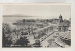 CPSM LAUSANNE (Suisse-Vaud) - OUCHY :  Les Quais Et Le Château Vus De L'Hôtel Beau Rivage - VD Vaud