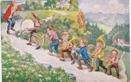 Kind Kinderen Enfants Children Muziek Musicians Drum Tuba Trumpet Trompet Trombone Sax Saxofoon Saxophone Bombardon - Humorkaarten