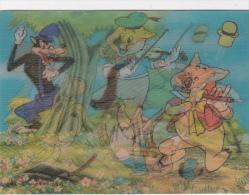 CPSM En 3 D Relief Lenticulaire Les 3 Petits Cochons Et Le Loup  Porc Pig Dessin De Walt DISNEY - Dreh- Und Zugkarten