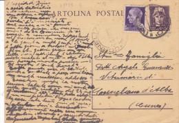 CARD INTERO POSTALE  CENT.50 SPEDITO 1-8-1945 CON AFFRANCATURA AGGIUNTA I LIRA CON FASCIO -2-0882-25125 - 1944-46 Lieutenance & Humbert II