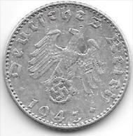 Third Reich 50 Pfennig 1943 J  Km 96   Vf Catalog Val 9,00 $ - [ 4] 1933-1945 : Tercer Reich