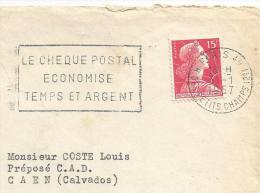 FLAMME SUR LETTRE DE PARIS 49 - CHEQUE POSTAL 1957 - Oblitérations Mécaniques (flammes)