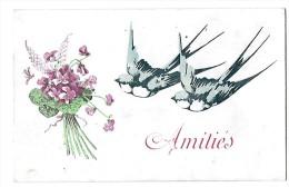 D12928 - AMITIES  *hirondelles*bouquet De Fleurs* - Cartes Postales
