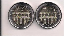 LOTE 2 MONEDA 2 EUROS ESPAÑA 2016 ACUEDUCTO SEGOVIA - Monedas & Billetes