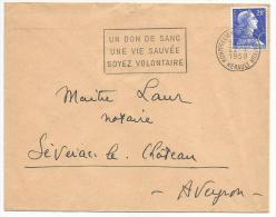 FLAMME SUR LETTRE DE MONTPELLIER - DON DU SANG 1958 - Postmark Collection (Covers)