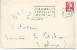 FLAMME SUR LETTRE DE PARIS 85 - DON DU SANG 1957 - Postmark Collection (Covers)
