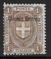 Eritrea, Scott # 12 Mint Hinged Italy Stamp Overprinted, 1899 - Eritrea