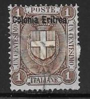 Eritrea, Scott # 12 Used Italy Stamp Overprinted, 1899 - Eritrea