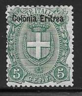 Eritrea, Scott # 14 Mint Hinged Italy Stamp Overprinted, 1895 - Eritrea