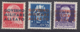 Italy Occupation In WWII Anglo-American, Napoli Naples 1943 Sassone#10-12 Mint Hinged