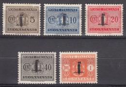 Italy, Repubblica Sociale Italiana, Segnatasse, Franchigia Militare 1944 Porto Sassone#60,61,62,65,68 Mint Hinged - Postage Due