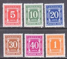 TANZANIA  J 1-6   ** - Tanzania (1964-...)
