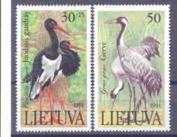 1992. Lithuania, Birds, 2v, Mint/**