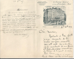 LONDON BUECKERS HOTEL LONDON WALL G HOLY LETTRE DOUBLE ET ENVELOPPE AVEC CACHET  ANNEE 1907 - Regno Unito
