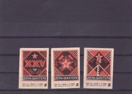 RUSSIA --- MATCHBOX LABELS -- 3 MINE MINING - 1972 - Matchbox Labels