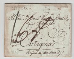 Bay373 /- BAYERN  - Kaufbeuren 1804 Via Basel Nach Cartagena,  Spanien. Mit Textinhalt Für Warenversand - Duitsland