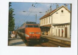 EN GARE DE FRASNE (25) 128 LE TGV PSE CHAMPS ELYSEES- LAUSANNE - PARIS LYON VA S'ARRETER AOUT 93 - France
