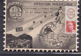 Exposition Philatélique - France - Carte Postale De 1949 - Oblitération Argeles - Centenaire Du Timbre - Valeur 15 € - Filatelistische Tentoonstellingen