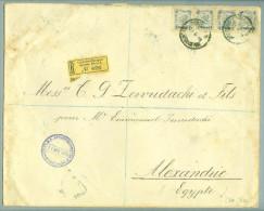 AT Levante Constantinopel 1903-04-21 R-Brief Nach Alexandria 4x2Piaster Selten - Levante-Marken
