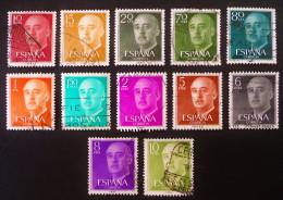 GENERAL FRANCISCO FRANCO 1955/58 - OBLITERES - YT 854/56 + 862/64 + 864B/65A + 867/69 - 1931-Aujourd'hui: II. République - ....Juan Carlos I