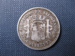 Espagne .1 PESETA 1870 SN-M (*18  *70) .Argent ,Silver Coin - Premières Frappes