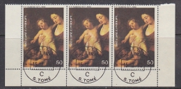 Sao Tome E Principe 1977 Peter Paul Rubens, Maria & Child 1v Strip Of 3 Used Cto (27420) - Sao Tome En Principe