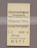 Pappfahrkarte Deutsche Reichsbahn --> Wolgaster Fähre - Seebad Heringsdorf   (Arbeiterwochen) - Europa