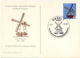 MOUL-L5 - ALLEMAGNE ORIENTALE N° 1312/15 MOULINS Sur 2 FDC Et Une Carte Souvenir Moulin De Schwerin - Moulins