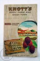 Old 1960's Knott's Berry Farm And Ghost Town Menu - Tourism Brochure - Buena Park California - Folletos Turísticos