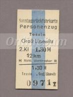 Pappfahrkarte Deutsche Reichsbahn --> Tessin  - Groß Lüsewitz (Sonntagsrück) - Bahn