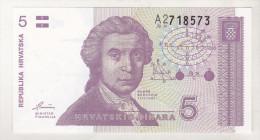 Croatia 5 Dinars 1991 Unc - Croatia