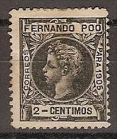 Fernando Poo 137 (*) Alfonso XIII. 1905. Sin Goma. - Fernando Po