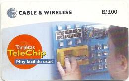 Panama - C&W - Telechip Phonecards - Chip Card - 100.000ex, Used