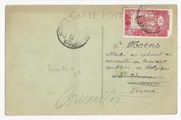 SOMALIS - 1919 - CROIX-ROUGE YVERT N°100 (DEF) RARE Sur CARTE De DJIBOUTI Pour STE ADRESSE - Côte Française Des Somalis (1894-1967)